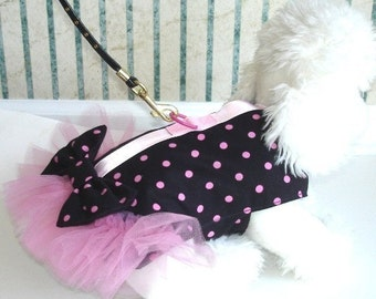 Canine Corset Harness in Pink and black Polka Dots XS S M L