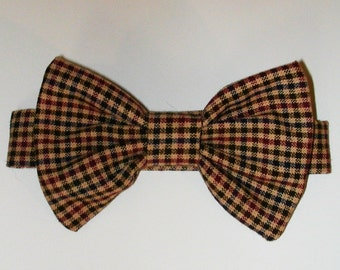 Dog or Cat Bow Tie: Brown Plaid Dapper