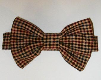 Dog or Cat Bow Tie: Brown Plaid Dapper