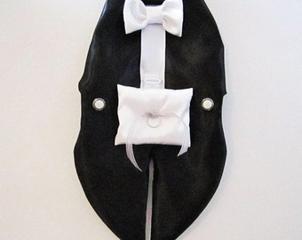 Dog Tuxedo Harness Vest: Ring Bearer Formal Wedding Wear For Dogs  White or Black or The (I) word meaning an off white color