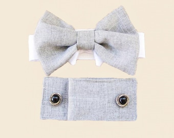 Dog Wedding Cuffs and Bow Tie :  Light Linen Gray