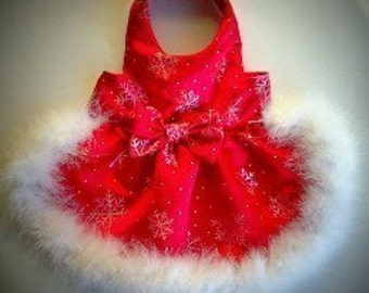 Red Satin Snowflake Dog Dress  Christmas chihuahu Gold iridescent snowflakes