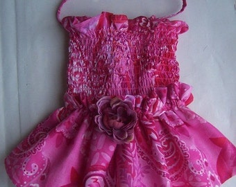Pink Paisley Dog Dress with Rose