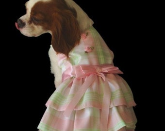 Dog Dresses:Pink and Green Plaid Pastel Spring  Dog Clothes Apparel miascloset
