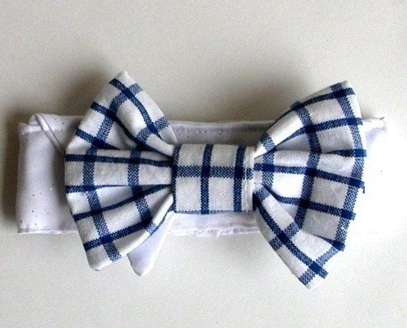 dog bow tie: Earth Day Blue Checked Dog Bow Tie All Sizes