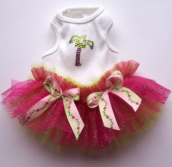 Summer Tutu Tropical Palm Tree  For Your Pup Xsmall puppy Small Medium