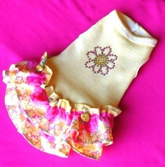Dog Dresses: Sunshine Yellow Ruffles with a Crystal Sunflower