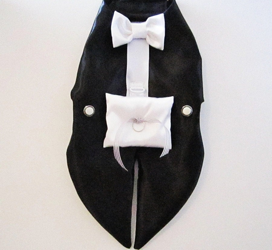 Off White Wedding Gown Meaning: Dog Tuxedo Harness Vest: Ring Bearer Formal Wedding Wear For
