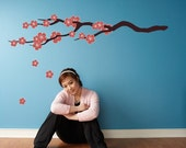 Cherry Blossom Branch - Reusable Adhesive Fabric Wall Stickers / Decals