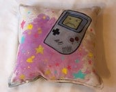 Gameboy Love Don't Make My Gameboy Cry Handpainted Pillow
