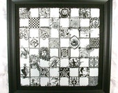 Custom Etched Chessboard - Fantasy Sketches by Casey Young - Granite or Glass