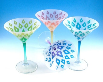 Dragon Petals - Martini Glasses - Set of 4 - Frosted Style - Etched and Custom Painted Glassware - Custom Made to Order