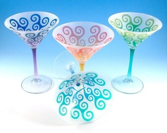 Martini Glasses - Spiral Waves - Set of 4 - Frosted and Painted Glassware - Custom Made to Order