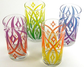 Windsor Diamonds - Wide Highball Tumbler Glasses - Set of 4 - Inlaid Style - Etched and Painted Glassware - Custom Made to Order