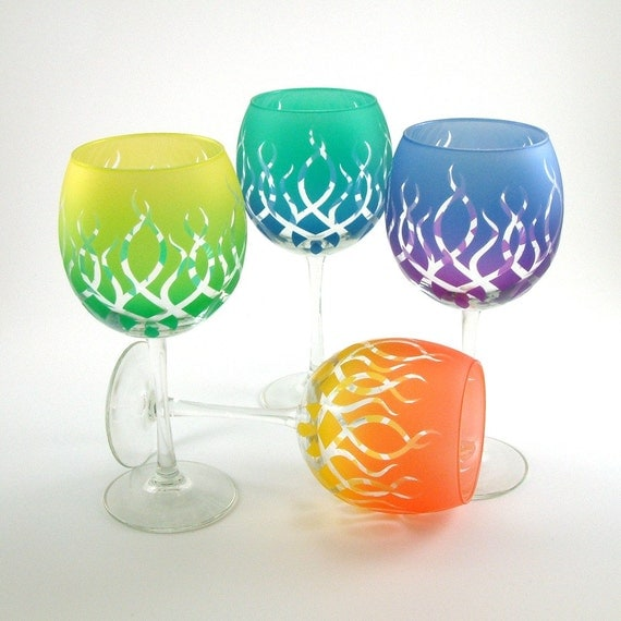 Strands Wine Glasses - Etched and Painted Glassware - Custom Made to Order