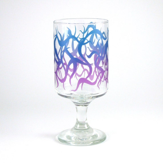 Chaos Weave - Modern Style Wine Glass - Inlaid Style - Etched and Painted Glassware - Custom Made to Order