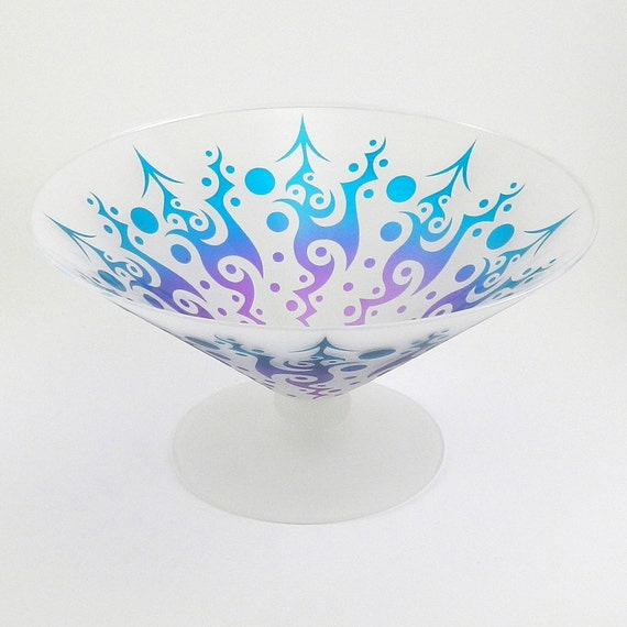 Opulent Heat Pedestal Bowl - Etched and Painted Glassware - Custom Made to Order