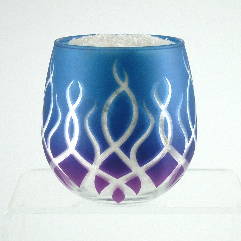 Strands stemless wine glass etched and painted glassware for Painted stemless wine glasses