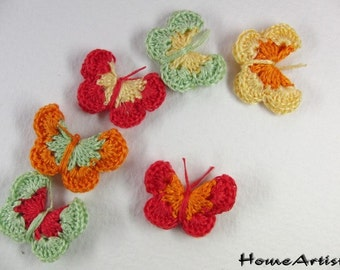 CROCHETED BUTTERFLY APPLIQUE any colors you wish