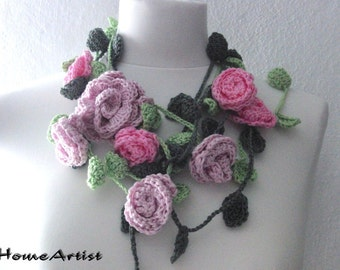 Lariat Necklace Crochet - Rose