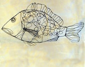 SALE-Dotty Fish--Wire Drawing Sculpture art