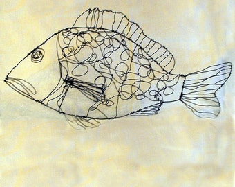Dotty Fish--Wire Drawing Sculpture art