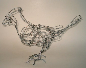 ORNAMENT SALE 20% OFF-Cardinal Ornament-Wire Drawing Bird Sculpture (silver)