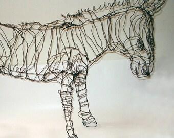 12-inch Stripey Zebra-Wire Drawing Sculpture Art
