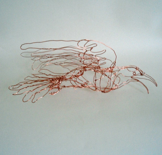 Yellow-Billed Cuckoo (copper)--Wire Drawing Sculpture art