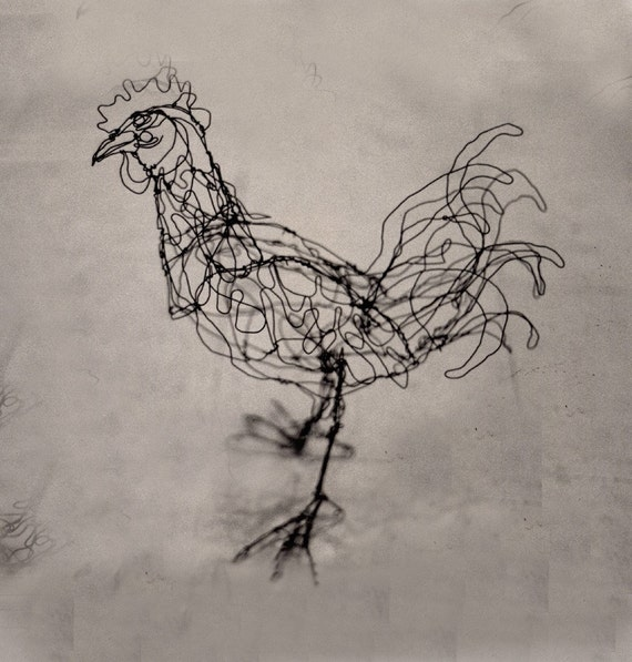 Bantam Rooster-Wire Drawing Sculpture art