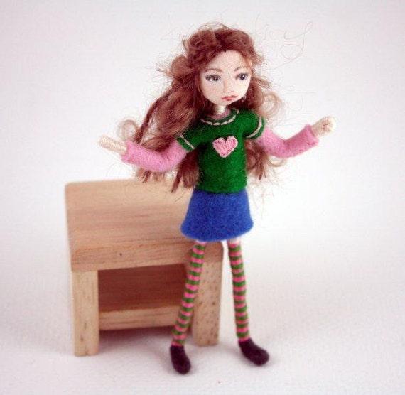 Little Felt Friend doll- sweet brunette- Waldorf inspired