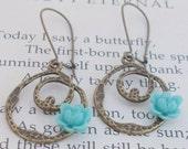 Aqua Rose Circle Earrings