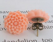 Soft Peach Chrysanthemums. Post Earrings - FREE SHIPPING