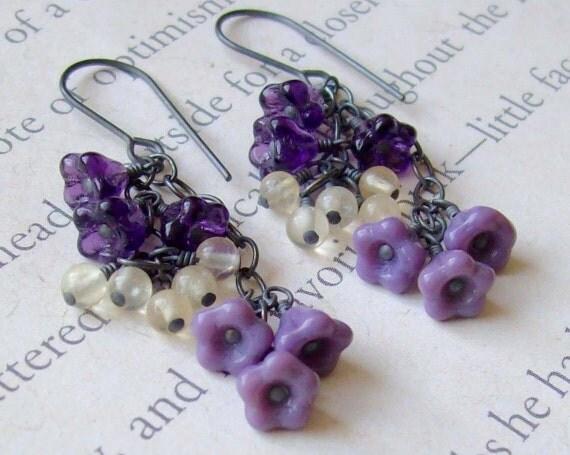 Shades of Purple Cluster Earrings