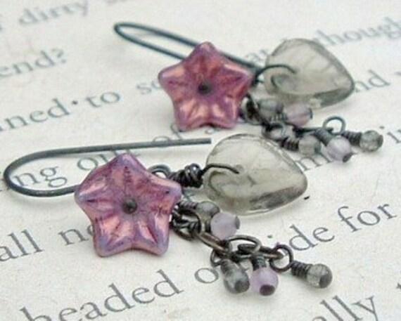 Vintage Lavendar Blossom Earrings