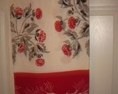 Vintage square tablecloth (red, ivory and black)
