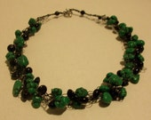 Crocheted Black wire Necklace with Black and Green beads by Auntie Loopy