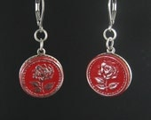 Vintage ode to a red rose button earrings