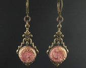 Antique pink Czech glass button earrings with gold etching