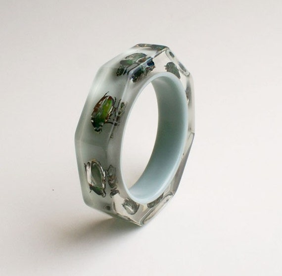 Grey lucite octagon bracelet with real insects