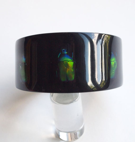 Black lucite bracelet with real insects