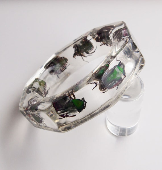 Transparent octagon lucite bangle with real bugs