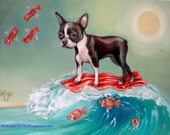 Boston Terrier Surfing Bacon Print