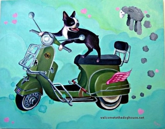 Boston Terrier riding Vespa Art Prints