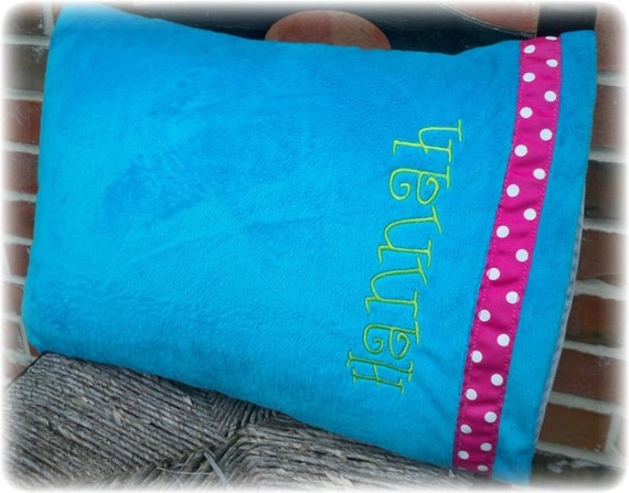 Turquoise and Pink Polka Dot Travel Pillowcase Includes Monogrammed Name