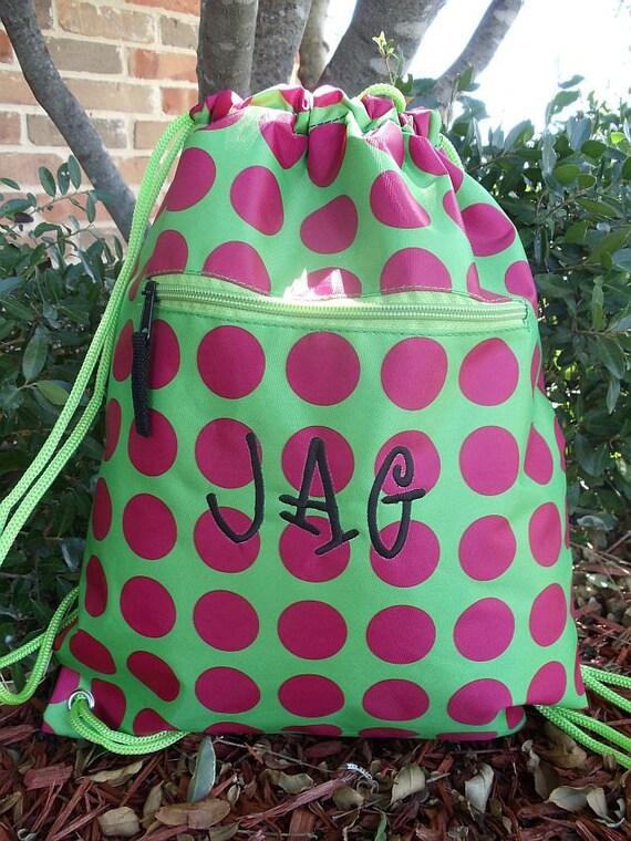 Pink Polka Drawstring Backpack Includes Monogrammed Name