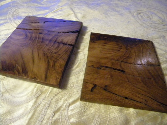 Pair of coasters made from HMS Victory Oak