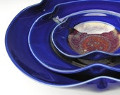 Nesting Bowl Set- Made to Order - Cobalt Blue Copper Red Honey Yellow Ceramic Pottery - Set of 3