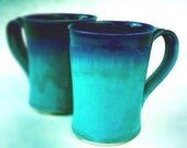 Ceramic Latte Mug - Made to Order - Turquoise and Cobalt Blue Pottery - Set of 2