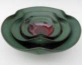 Nesting Bowl Set - Made to Order - Copper Red Dark Green Ceramic Pottery - Set of 3 - Chip and Dip